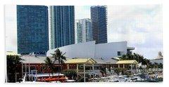 The Port Of Miami At Bayside Hand Towel by Dora Sofia Caputo Photographic Art and Design