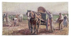 The Potato Pickers Hand Towel by Harry Fidler