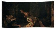The Prisoner Of Chillon Hand Towel by Ferdinand Victor Eugene Delacroix