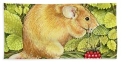 The Raspberry Mouse Hand Towel by Ditz