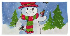 The Snowman Hand Towel by Diane Matthes