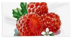 Three Happy Raspberries Hand Towel by Irina Sztukowski