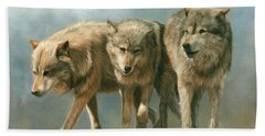 Three Wolves Hand Towel by David Stribbling