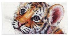 Tiger Cub Watercolor Painting Hand Towel by Olga Shvartsur