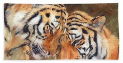 Tiger Love Hand Towel by David Stribbling