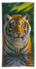 Tiger Pool Hand Towel by MGL Studio - Chris Hiett