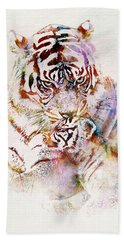 Tiger With Cub Watercolor Hand Towel by Marian Voicu