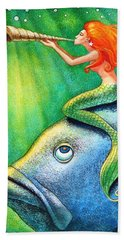 Toot Your Own Seashell Mermaid Hand Towel by Sue Halstenberg