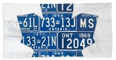 Toronto Maple Leafs Hockey Team Retro Logo Vintage Recycled Ontario Canada License Plate Art Hand Towel by Design Turnpike