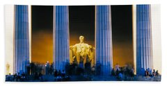 Tourists At Lincoln Memorial Hand Towel by Panoramic Images
