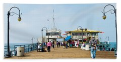 Tourists On Santa Monica Pier, Santa Hand Towel by Panoramic Images
