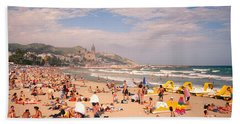 Tourists On The Beach, Sitges, Spain Hand Towel by Panoramic Images