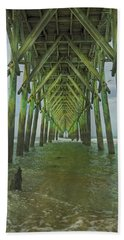 Tranquil Topsail Surf City Pier Hand Towel by Betsy Knapp