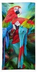 Tropic Spirits - Macaws Hand Towel by Carol Cavalaris