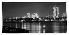 Tulsa In Black And White - University Tower View Hand Towel by Gregory Ballos