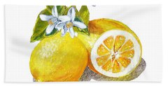Two Happy Lemons Hand Towel by Irina Sztukowski