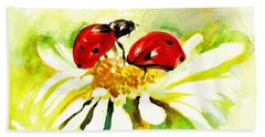 Two Ladybugs In Daisy After My Original Watercolor Hand Towel by Tiberiu Soos