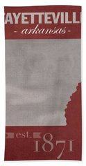 University Of Arkansas Razorbacks Fayetteville College Town State Map Poster Series No 013 Hand Towel by Design Turnpike