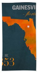 University Of Florida Gators Gainesville College Town Florida State Map Poster Series No 003 Hand Towel by Design Turnpike