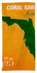 University Of Miami Hurricanes Coral Gables College Town Florida State Map Poster Series No 002 Hand Towel by Design Turnpike