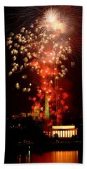 Usa, Washington Dc, Fireworks Hand Towel by Panoramic Images