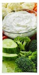 Vegetables And Dip Hand Towel by Elena Elisseeva