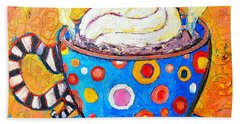 Viennese Cappuccino Whimsical Colorful Coffee Cup Hand Towel by Ana Maria Edulescu