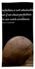 Vince Lombardi On Perfection Hand Towel by Edward Fielding