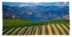 Vineyard In The Mountains Hand Towel by Inge Johnsson