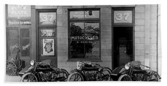Vintage Motorcycle Dealership Hand Towel by Jon Neidert