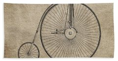Vintage Penny-farthing Bicycle Illustration Hand Towel by Dan Sproul