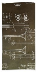 Vintage Trombone Patent Hand Towel by Dan Sproul