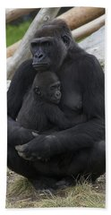 Western Lowland Gorilla Mother And Baby Hand Towel by San Diego Zoo