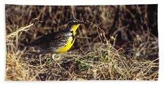 Western Meadowlark Hand Towel by Steven Ralser