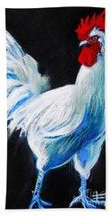 White Chicken Hand Towel by Mona Edulesco