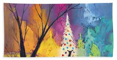 White Christmas Tree Hand Towel by Munir Alawi