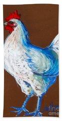 White Hen Hand Towel by Mona Edulesco