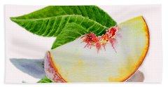 White Peach Slice  Hand Towel by Irina Sztukowski