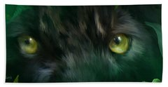 Wild Eyes - Black Panther Hand Towel by Carol Cavalaris