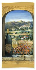 Wine And Poppies Hand Towel by Marilyn Dunlap