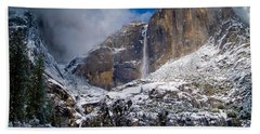 Winter At Yosemite Falls Hand Towel by Bill Gallagher