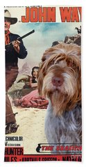 Wirehaired Pointing Griffon - Korthals Griffon Art Canvas Print - The Searchers Movie Poster Hand Towel by Sandra Sij