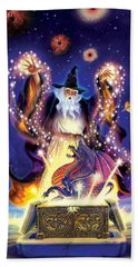Wizard Dragon Spell Hand Towel by Andrew Farley