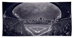 Wrigley Field Night Game Chicago Bw Hand Towel by Steve Gadomski