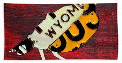 Wyoming Meadowlark Wild Bird Vintage Recycled License Plate Art Hand Towel by Design Turnpike