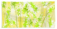 Yellow And Green Art Hand Towel by Lourry Legarde
