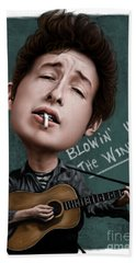 Young Bob Dylan Hand Towel by Andre Koekemoer