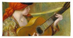 Young Spanish Woman With A Guitar Hand Towel by Pierre Auguste Renoir