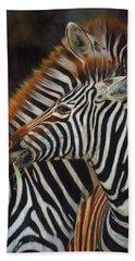 Zebras Hand Towel by David Stribbling