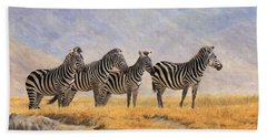 Zebras Ngorongoro Crater Hand Towel by David Stribbling